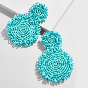 Turquoise Green Rianne Beaded Drop Earrings